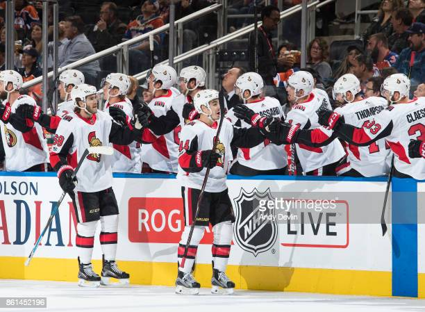 Mike Hoffman and JeanGabriel Pageau of the Ottawa Senators celebrate a goal against the Edmonton Oilers on October 14 2017 at Rogers Place in...