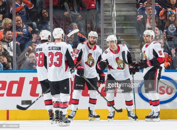 Mike Hoffman Fredrik Claesson Zack Smith Kyle Turris and Cody Ceci of the Ottawa Senators celebrate a goal against the Edmonton Oilers on October 14...