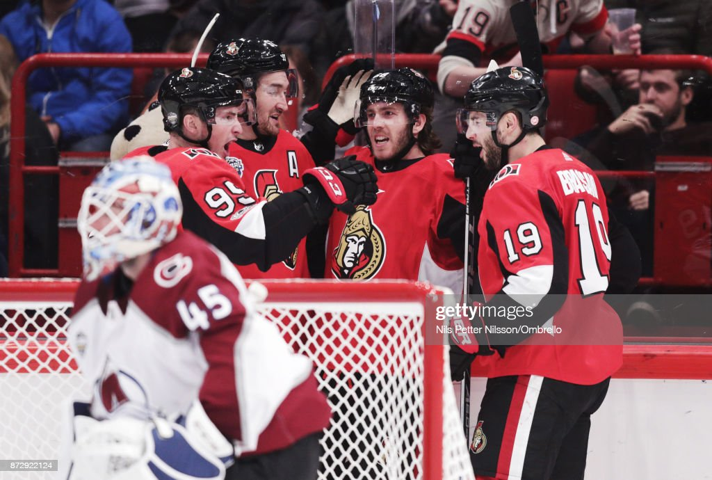 Mike Hoffman #68 of Ottawa Senators celebrates after scoring to 3-4 during the 2017 SAP NHL Global Series match between Colorado Avalanche and Ottawa Senators at Ericsson Globe on November 11, 2017 in Stockholm, Sweden.