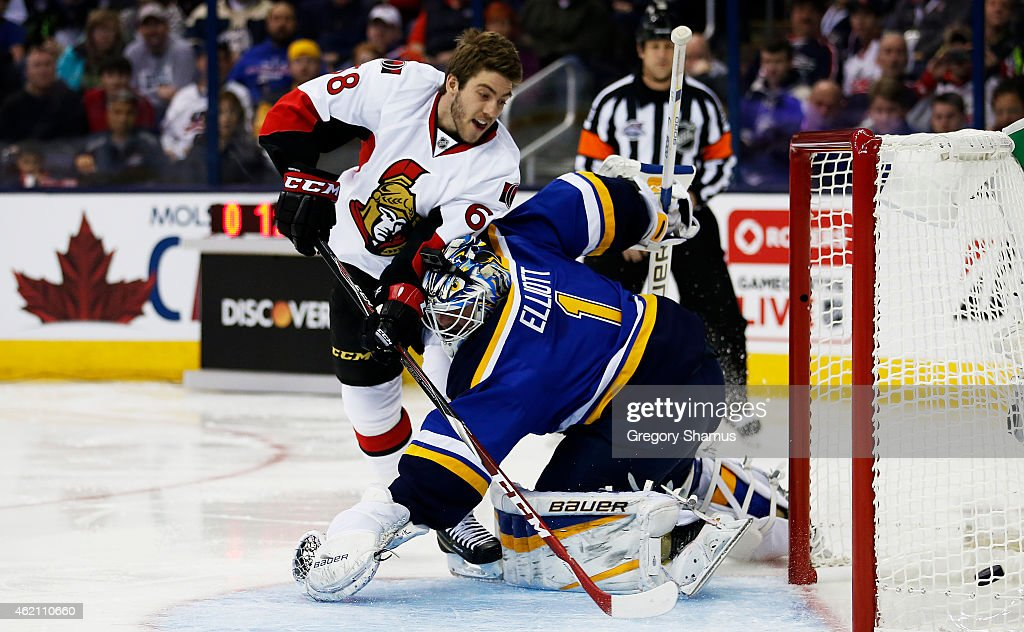 Mike Hoffman #68 of the Ottawa Senators and Team Toews competes against Brian Elliott #1 of the St. Louis Blues and Team Foligno during the Discover NHL Shootout event of the 2015 Honda NHL All-Star Skills Competition at Nationwide Arena on January 24, 2015 in Columbus, Ohio.