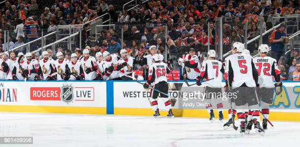Mike Hoffman of the Ottawa Senators celebrates a goal against the Edmonton Oilers on October 14 2017 at Rogers Place in Edmonton Alberta Canada