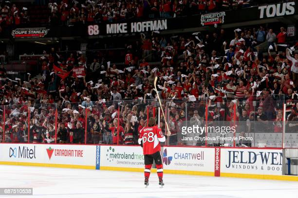 Mike Hoffman of the Ottawa Senators celebrates after defeating the Pittsburgh Penguins with a score of 2 to 1 in Game Six of the Eastern Conference...