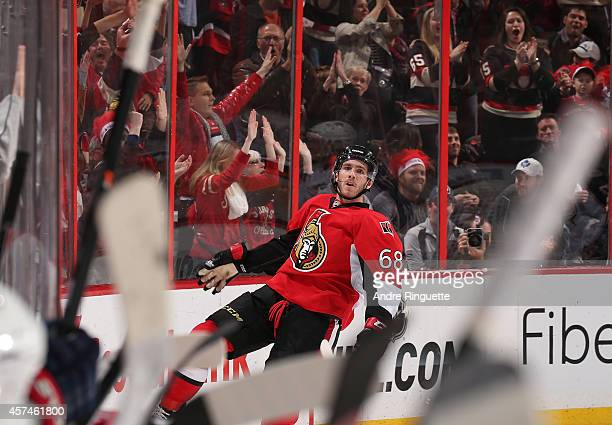 Mike Hoffman of the Ottawa Senators celebrates his eventual gamewinning goal against the Columbus Blue Jackets at Canadian Tire Centre on October 18...