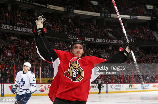 Mike Hoffman of the Ottawa Senators celebrates his first period goal against the Toronto Maple Leafs at Canadian Tire Centre on January 21 2015 in...