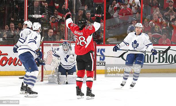 Mike Hoffman of the Ottawa Senators celebrates his first period goal against James Reimer Eric Brewer Morgan Rielly and Joakim Lindstrom of the...