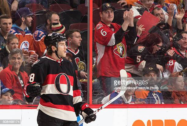 Mike Hoffman of the Ottawa Senators celebrates his firstperiod powerplay goal against the Edmonton Oilers during an NHL game at Canadian Tire Centre...