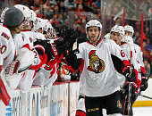 Mike Hoffman of the Ottawa Senators celebrates his third period goal against the Philadelphia Flyers with his teammates on January 6 2015 at the...