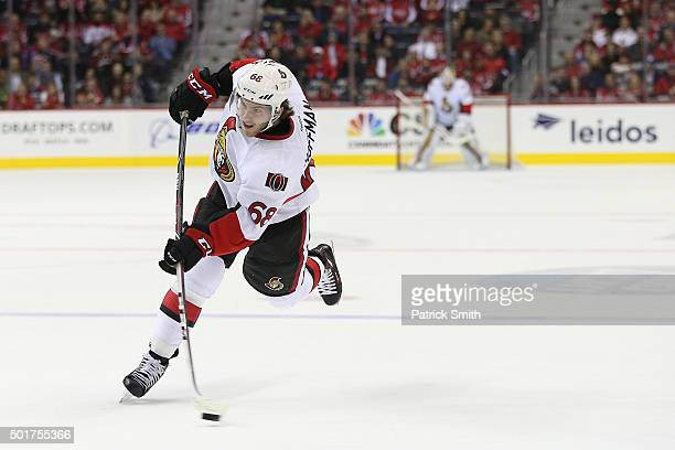Mike Hoffman of the Ottawa Senators in action against the Washington Capitals at Verizon Center on December 16 2015 in Washington DC