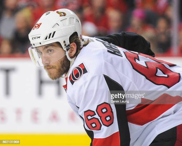 Mike Hoffman of the Ottawa Senators in action Calgary Flames during an NHL game at Scotiabank Saddledome on October 13 2017 in Calgary Alberta Canada