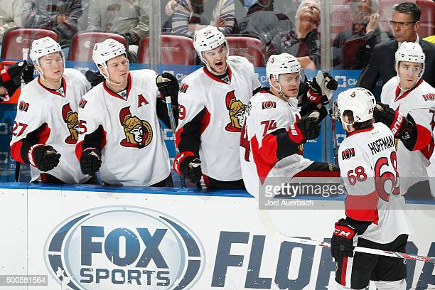 Mike Hoffman of the Ottawa Senators is congratulated by teammates after scoring th go ahead goal against the Florida Panthers during third period...