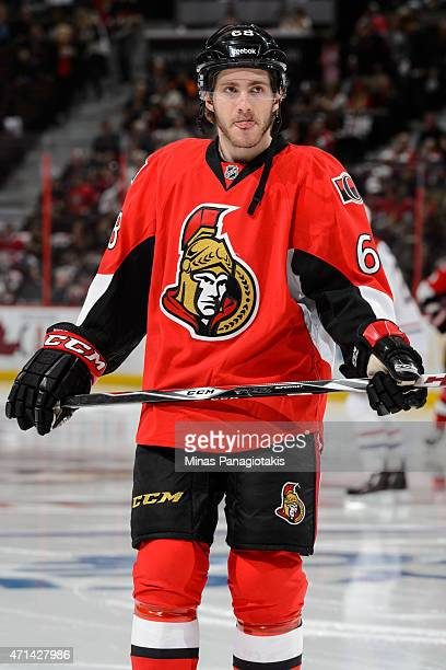 Mike Hoffman of the Ottawa Senators looks on in Game Six of the Eastern Conference Quarterfinals against the Montreal Canadiens during the 2015 NHL...