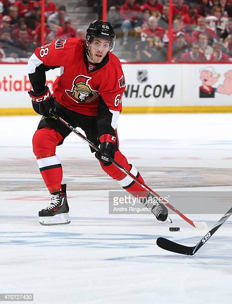 Mike Hoffman of the Ottawa Senators prepares to release a wrist shot against the Montreal Canadiens in Game Four of the Eastern Conference...
