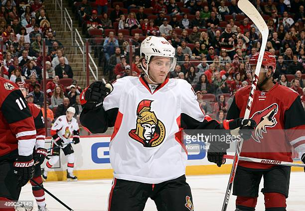 Mike Hoffman of the Ottawa Senators reacts after his first period goal against the Arizona Coyotes at Gila River Arena on November 28 2015 in...