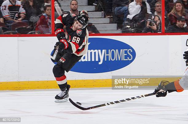 Mike Hoffman of the Ottawa Senators shoots the puck against the Philadelphia Flyers in first period action at Canadian Tire Centre on December 1 2016...