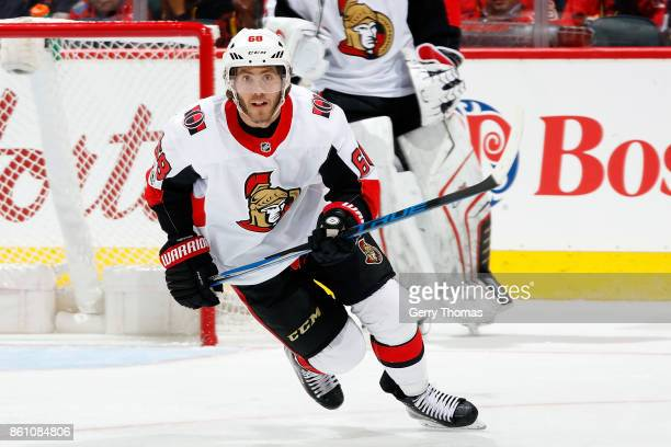 Mike Hoffman of the Ottawa Senators skates against the Calgary Flames during an NHL game on October 13 2017 at the Scotiabank Saddledome in Calgary...
