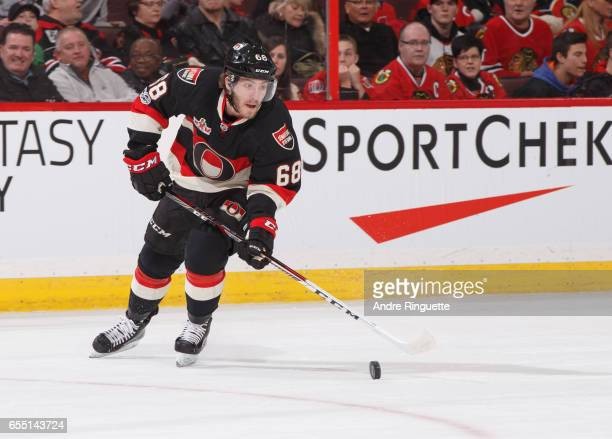 Mike Hoffman of the Ottawa Senators skates against the Chicago Blackhawks at Canadian Tire Centre on March 16 2017 in Ottawa Ontario Canada