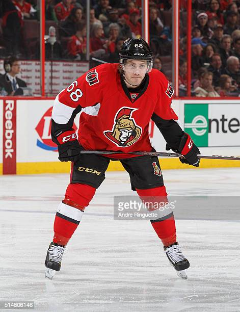 Mike Hoffman of the Ottawa Senators skates against the Dallas Stars at Canadian Tire Centre on March 6 2016 in Ottawa Ontario Canada