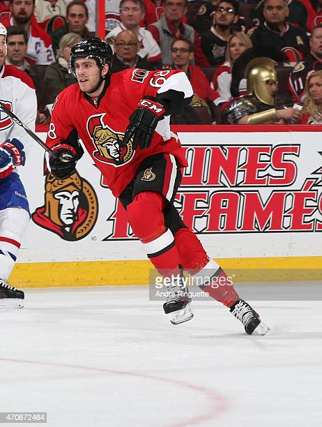 Mike Hoffman of the Ottawa Senators skates against the Montreal Canadiens in Game Three of the Eastern Conference Quarterfinals during the 2015 NHL...