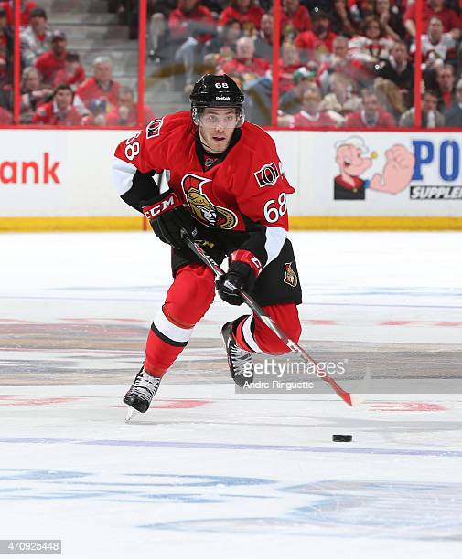 Mike Hoffman of the Ottawa Senators skates against the Montreal Canadiens in Game Four of the Eastern Conference Quarterfinals during the 2015 NHL...