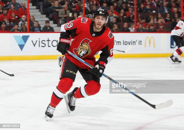 Mike Hoffman of the Ottawa Senators skates against the New Jersey Devils at Canadian Tire Centre on October 19 2017 in Ottawa Ontario Canada