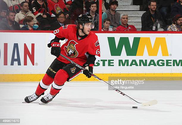 Mike Hoffman of the Ottawa Senators skates against the Philadelphia Flyers at Canadian Tire Centre on December 1 2015 in Ottawa Ontario Canada