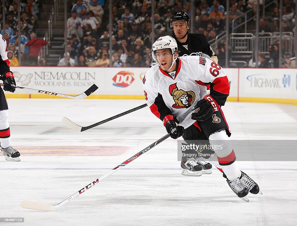 Mike Hoffman #68 of the Ottawa Senators skates against the Pittsburgh Penguins on April 13, 2014 at Consol Energy Center in Pittsburgh, Pennsylvania.