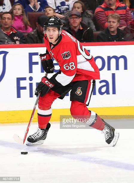 Mike Hoffman of the Ottawa Senators skates against the Toronto Maple Leafs at Canadian Tire Centre on March 21 2015 in Ottawa Ontario Canada