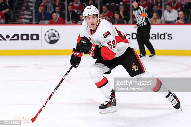 Mike Hoffman of the Ottawa Senators skates during Game One of the Eastern Conference Quarterfinals during of the 2015 NHL Stanley Cup Playoffs at the...