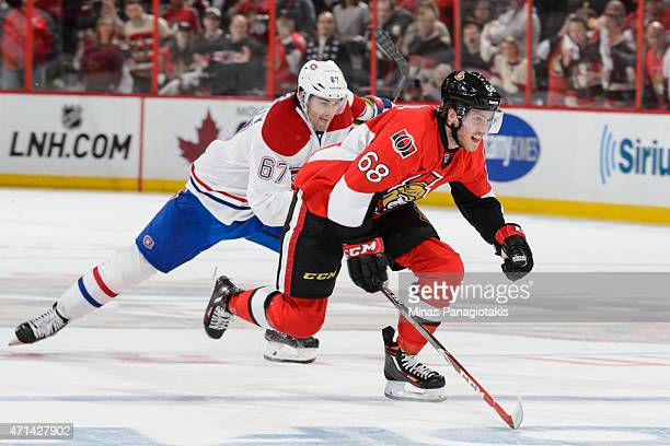 Mike Hoffman of the Ottawa Senators skates with Max Pacioretty of the Montreal Canadiens close behind in Game Six of the Eastern Conference...
