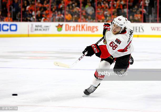Mike Hoffman of the Ottawa Senators takes a shot and scores a goal in the third period against the Philadelphia Flyers at the Wells Fargo Center on...