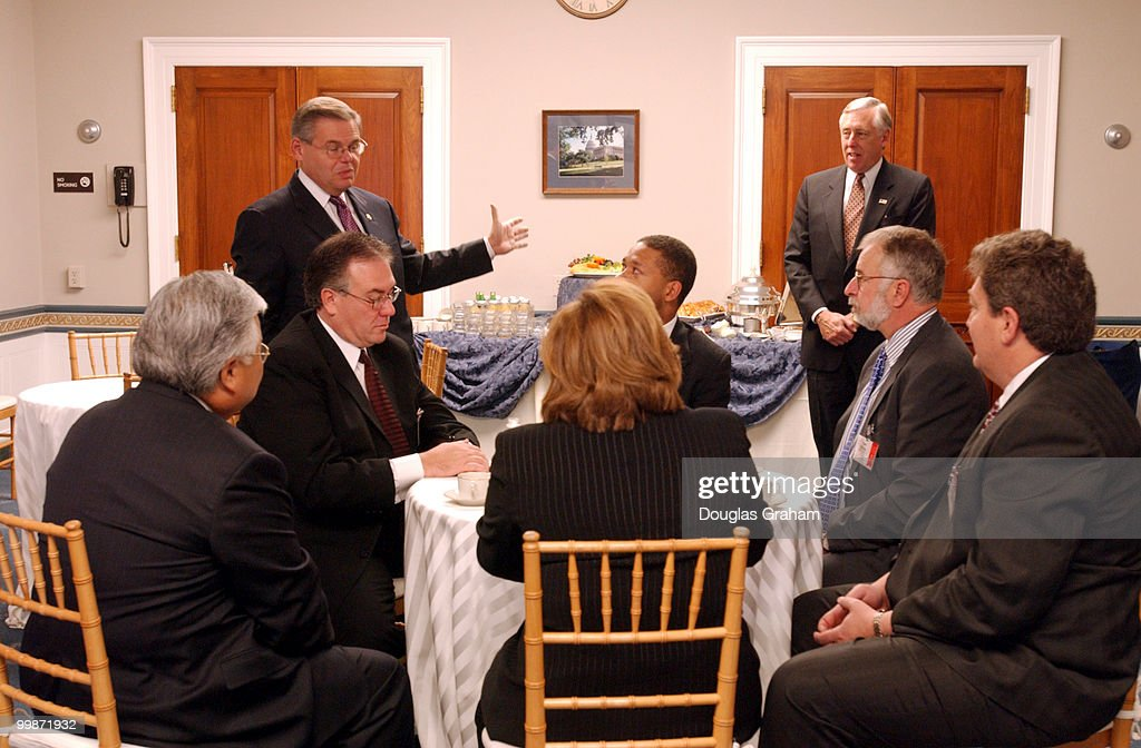 Mike Honda DCA Robert Menendez DNJ and Steny H Hoyer DMD give pep talks during a breakfast hosted by Rep Menendez the vice Chairman of the Democratic...