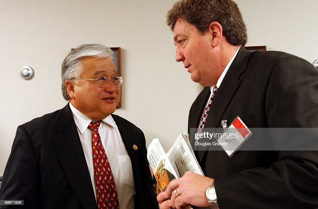 Mike Honda DCA talks with Mike Feeley DCO talk during a breakfast hosted by Rep Menendez the vice Chairman of the Democratic Caucus for Democratic...