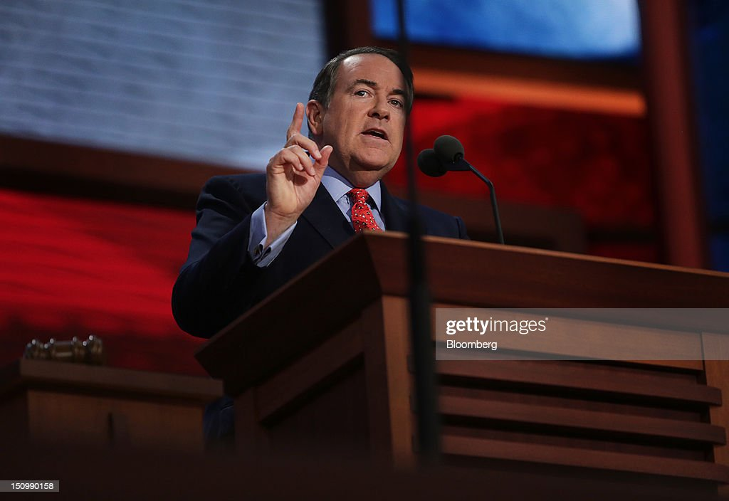 Mike Huckabee, former governor of Arkansas, speaks at the Republican National Convention (RNC) in Tampa, Florida, U.S., on Wednesday, Aug. 29, 2012. Representative Paul Ryan takes the stage tonight to address the RNC with a dual mission: to provide a spark, along with his big ideas about cutting the budget, to energize the party's base. Photographer: Scott Eells/Bloomberg via Getty Images