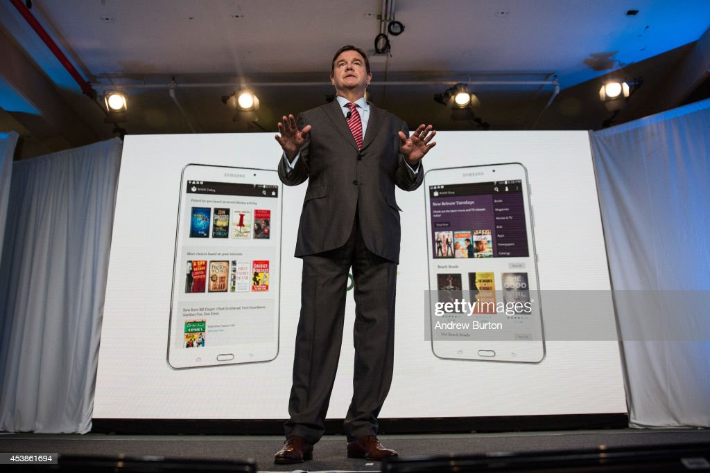 Mike Huseby CEO of Barnes Noble speaks at a media event introducing the new Samsung Galaxy Tab 4 Nook on August 20 2014 in New York City The new...