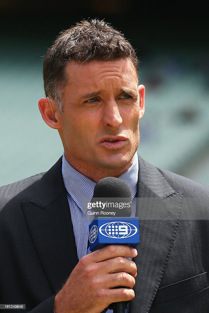 Mike Hussey of Australia does commentry during game five of the Commonwealth Bank International Series between Australia and the West Indies at the Melbourne Cricket Ground on February 10, 2013 in Melbourne, Australia.
