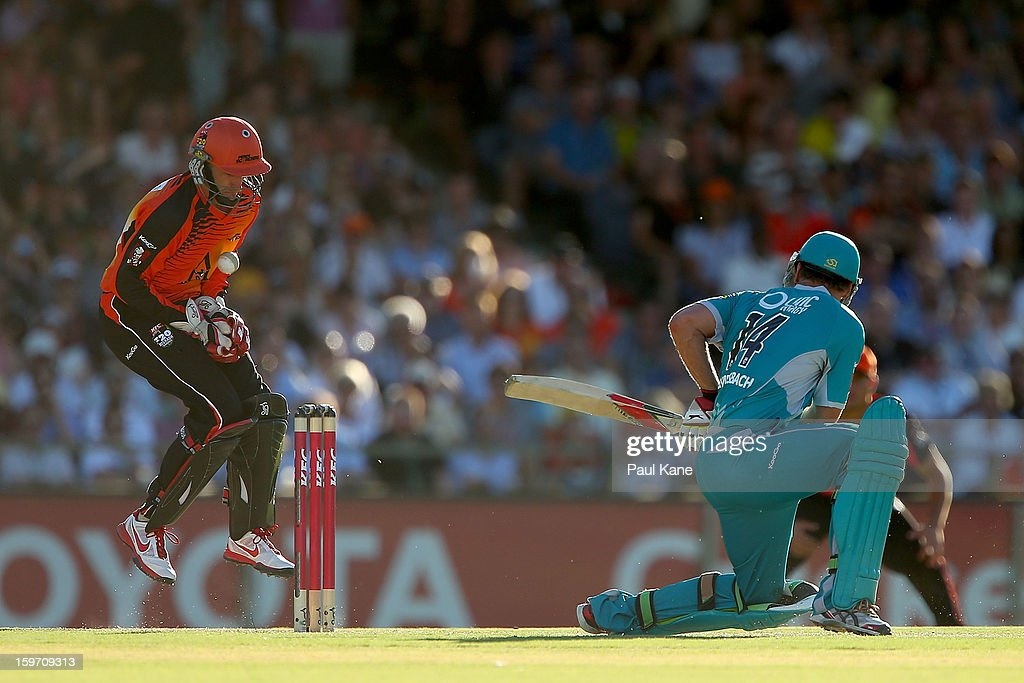 Mike Hussey of the Scorchers fumbles the ball during the Big Bash League final match between the Perth Scorchers and the Brisbane Heat at the WACA on January 19, 2013 in Perth, Australia.