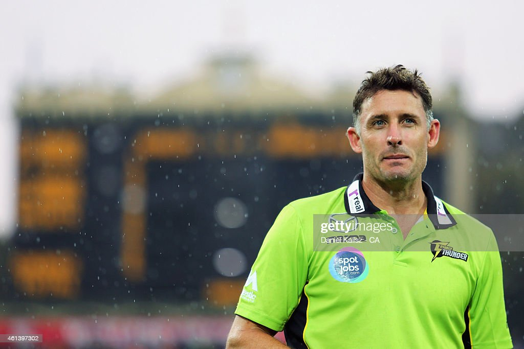 Mike Hussey of the Sydney Thunder looks on prior to the start of play during the Big Bash League match between the Adelaide Strikers and Sydney Thunder at Adelaide Oval on January 12, 2015 in Adelaide, Australia.