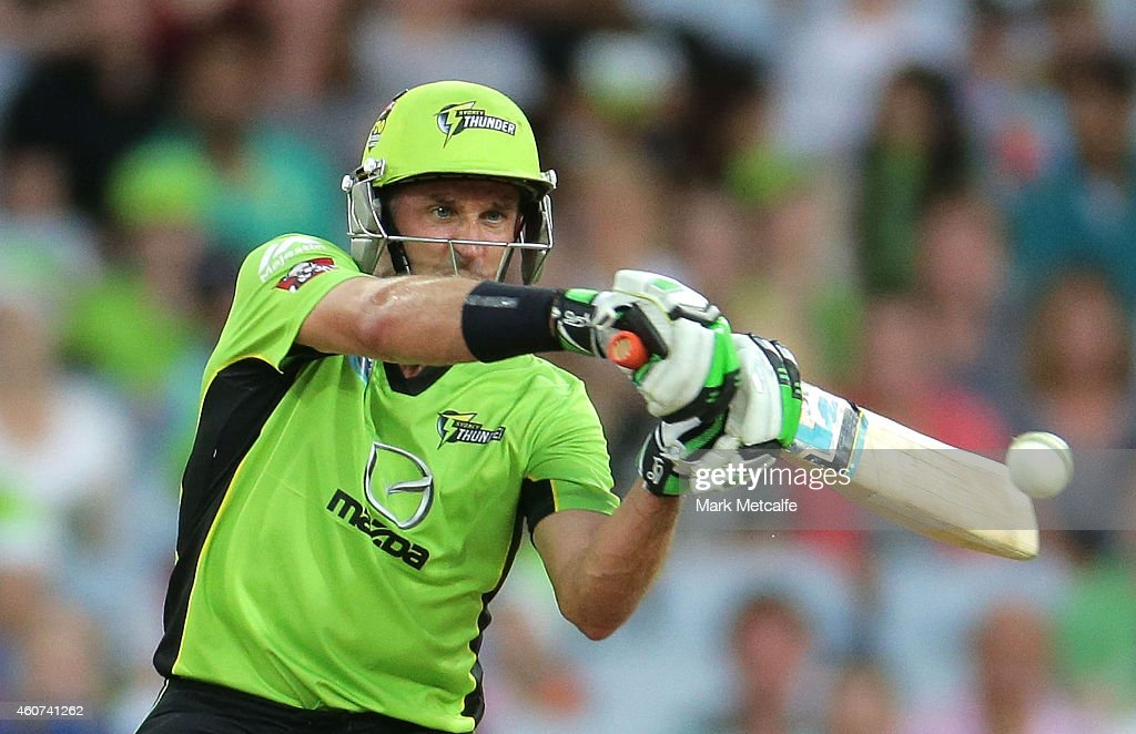 Mike Hussey of the Thunder bats during the Big Bash League match between the Sydney Thunder and Brisbane Heat at ANZ Stadium on December 21, 2014 in Sydney, Australia.