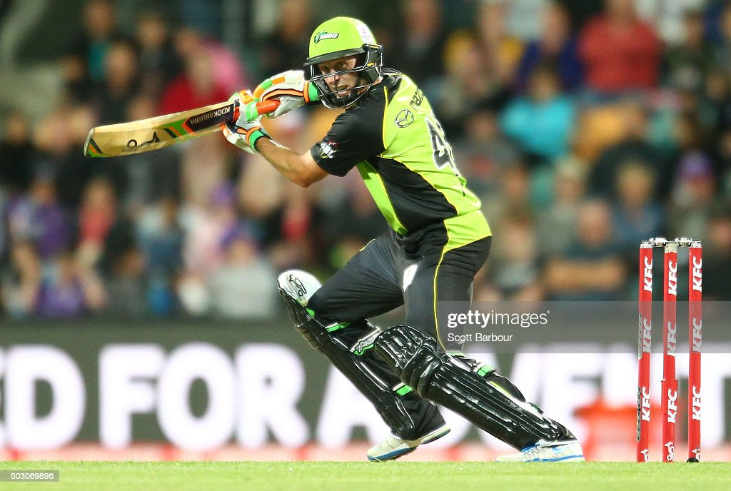 Mike Hussey of the Thunder bats during the Big Bash League match between the Hobart Hurricanes and the Sydney Thunder at Blundstone Arena on January 1, 2016 in Hobart, Australia.