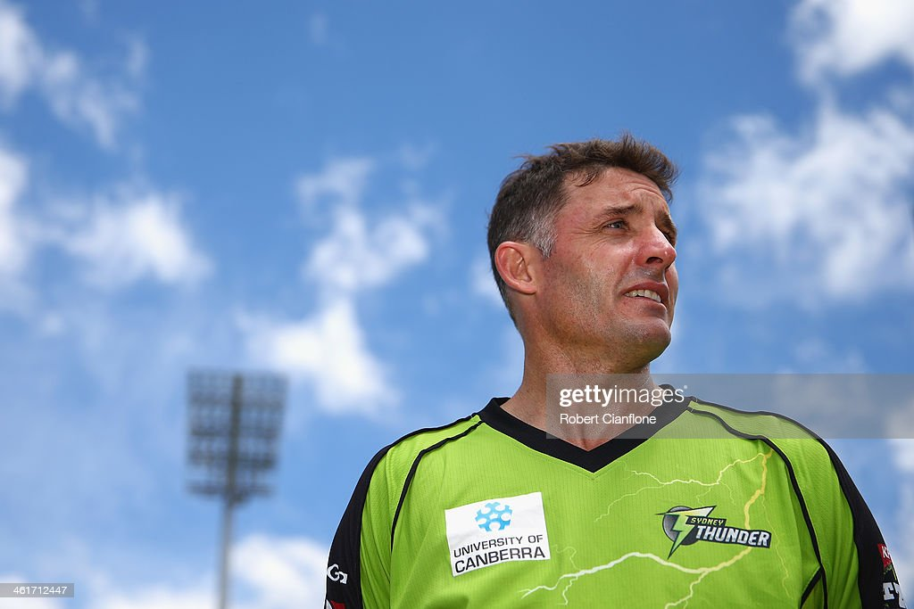 Mike Hussey of the Thunder is seen prior to the Big Bash League match between the Hobart Hurricanes and Sydney Thunder at Blundstone Arena on January 11, 2014 in Hobart, Australia.