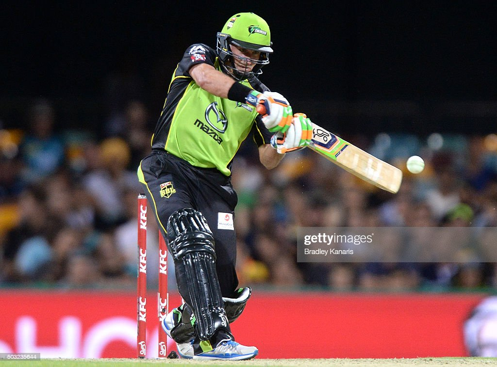 Mike Hussey of the Thunder plays a shot during the Big Bash League match between the Brisbane Heat and the Sydney Thunder at The Gabba on January 3, 2016 in Brisbane, Australia.