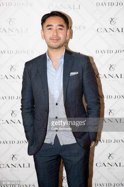 Mike Huynh arrives at the David Jones Canali Launch at Restaurant Hubert on April 27 2017 in Sydney Australia