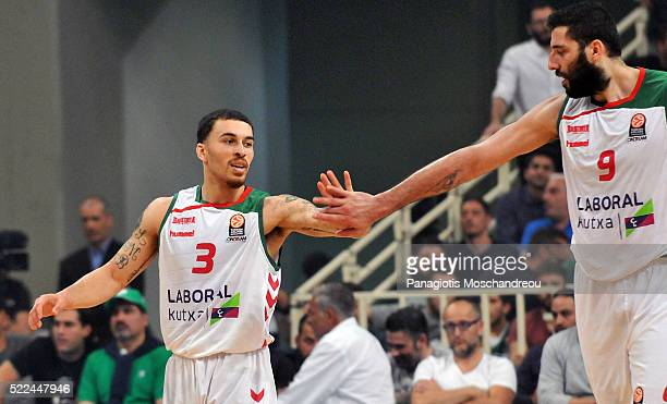 Mike James #3 and Ioannis Bourousis #9 of Laboral Kutxa Vitoria Gasteiz during the 20152016 Turkish Airlines Euroleague Basketball Playoffs Game 3...