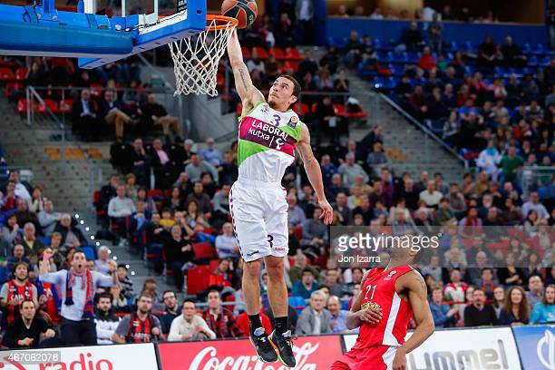 Mike James #3 of Laboral Kutxa Vitoria during the Turkish Airlines Euroleague Basketball Top 16 Date 11 game between Laboral Kutxa Vitoria v...