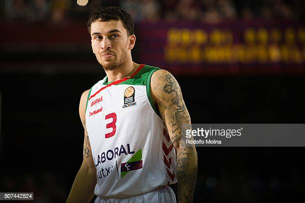 Mike James #3 of Laboral Kutxa Vitoria Gasteiz in action during the Turkish Airlines Euroleague Basketball Top 16 Round 5 game between FC Barcelona...