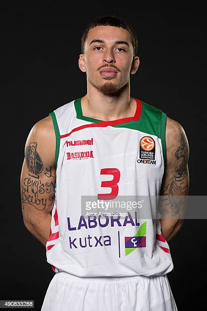 Mike James #3 of Laboral Kutxa Vitoria Gasteiz poses during the 2015/2016 Turkish Airlines Euroleague Basketball Media Day at Martin Carpena Arena on...