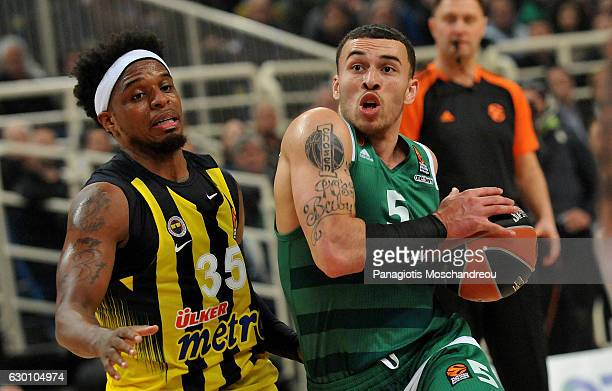 Mike James #5 of Panathinaikos Superfoods Athens competes with Bobby Dixon #35 of Fenerbahce Istanbul during the 2016/2017 Turkish Airlines...