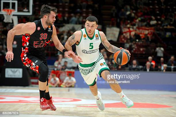 Mike James #5 of Panathinaikos Superfoods Athens in action during the 2016/2017 Turkish Airlines EuroLeague Regular Season Round 13 game between EA7...