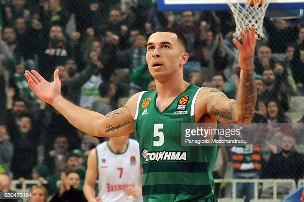 Mike James #5 of Panathinaikos Superfoods Athens react during the 2016/2017 Turkish Airlines EuroLeague Regular Season Round 14 game between...