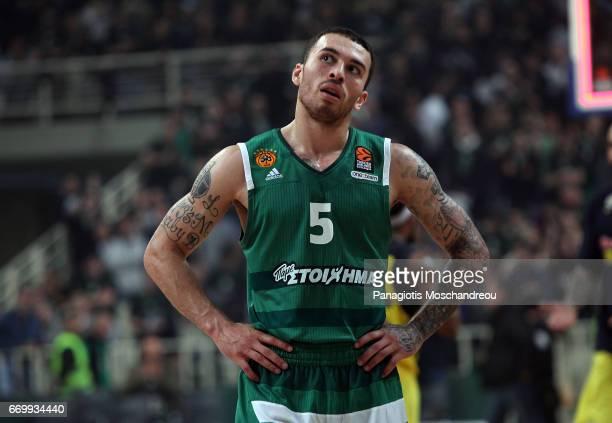 Mike James #5 of Panathinaikos Superfoods Athens react during the 2016/2017 Turkish Airlines EuroLeague Playoffs leg 1 game between Panathinaikos...